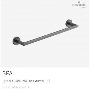 Brushed Black Towel Rail 450mm (18″) IND-SFA184-45-BLK